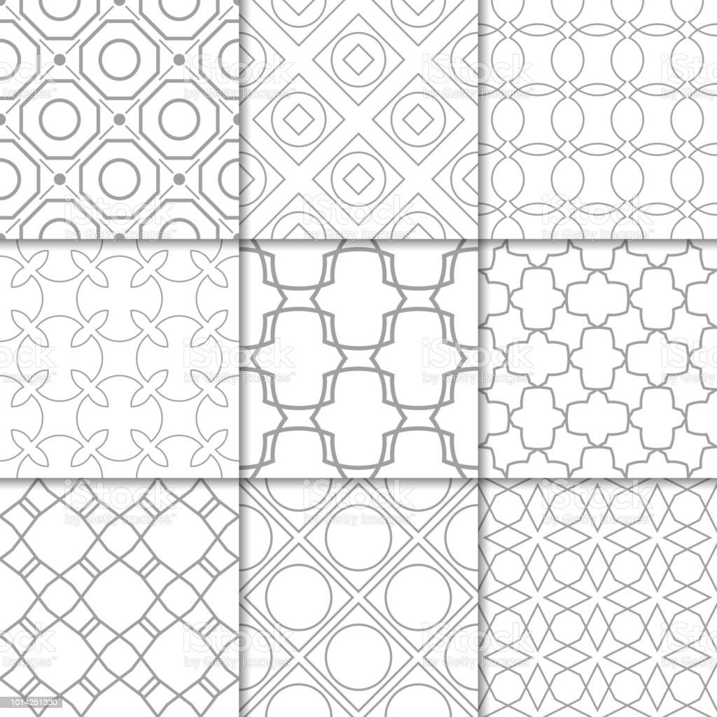 Light gray geometric ornaments. Collection of seamless patterns - arte vettoriale royalty-free di Astratto