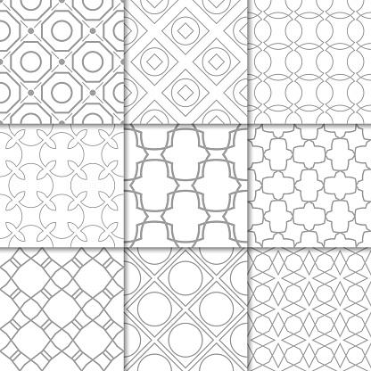 Light Gray Geometric Ornaments Collection Of Seamless Patterns - Immagini vettoriali stock e altre immagini di Astratto