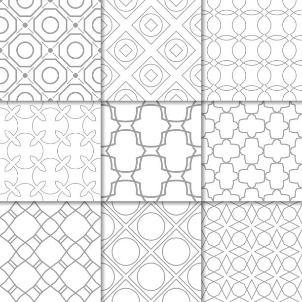 Bекторная иллюстрация Light gray geometric ornaments. Collection of seamless patterns