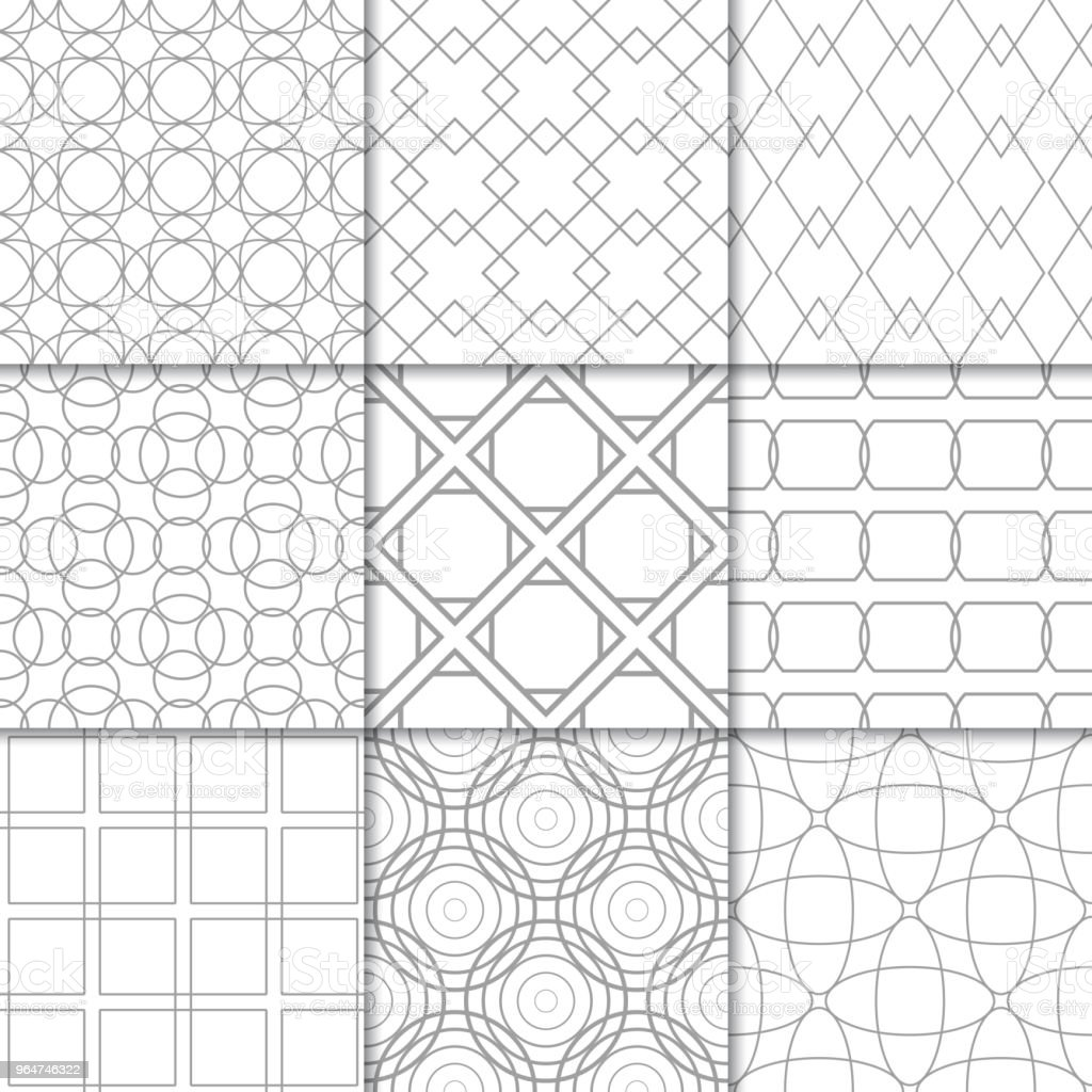 Light gray geometric ornaments. Collection of seamless patterns royalty-free light gray geometric ornaments collection of seamless patterns stock vector art & more images of abstract