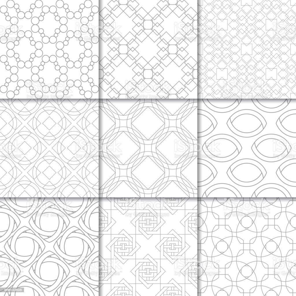 Ljus grå geometrisk ornament. Samling av sömlösa mönster - Royaltyfri Abstrakt vektorgrafik