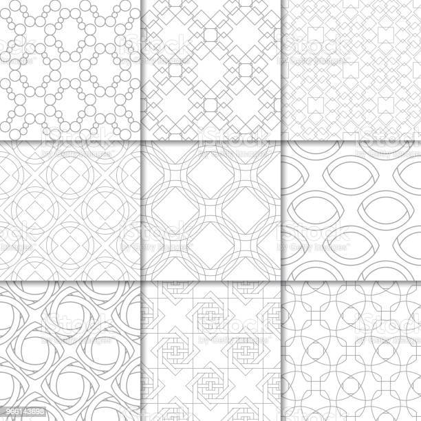 Ljus Grå Geometrisk Ornament Samling Av Sömlösa Mönster-vektorgrafik och fler bilder på Abstrakt