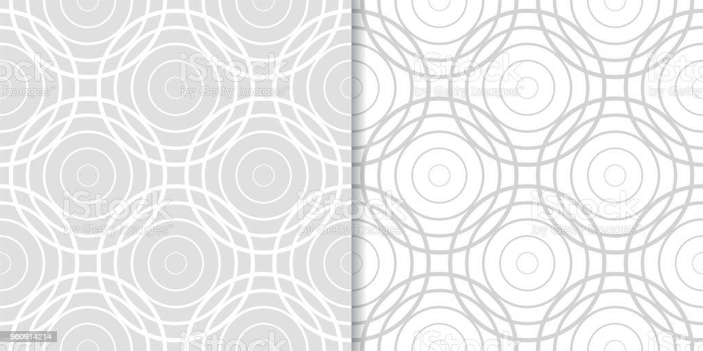 Licht grau geometrischen Ornamenten. Satz von seamless pattern - Lizenzfrei Abstrakt Vektorgrafik