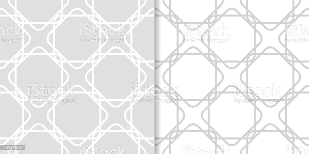 Ljus grå geometrisk ornament. Uppsättning sömlösa mönster - Royaltyfri Abstrakt vektorgrafik
