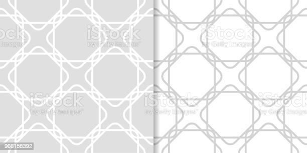 Ljus Grå Geometrisk Ornament Uppsättning Sömlösa Mönster-vektorgrafik och fler bilder på Abstrakt