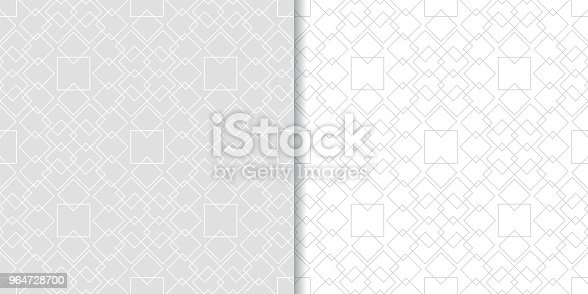 Light Gray Geometric Set Of Seamless Patterns Stock Vector Art & More Images of Abstract 964728700