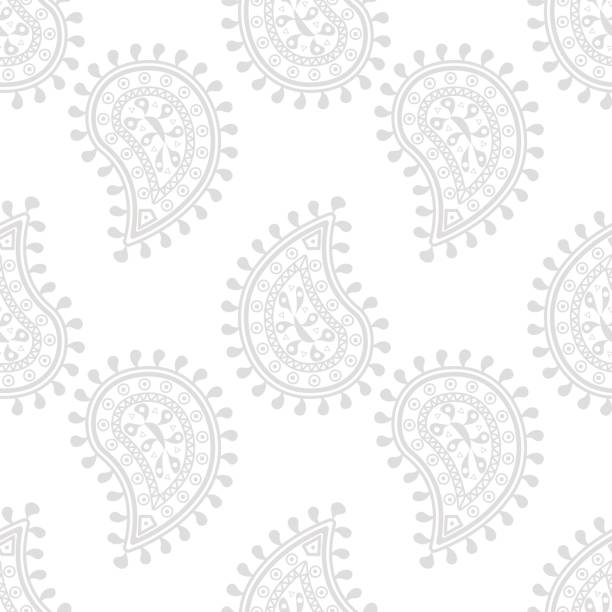 Bекторная иллюстрация Light gray seamless pattern with wallpaper ornaments