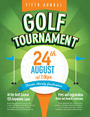 Vector illustration of golf tournament invitation layout or poster advertisement design template.Green, orange and blue color themes.  Includes sample text design elements and golf tee, golf course background. Perfect for golf outing, tournament, golf course advertisement poster and charity sporting event. See my portfolio for other invitations and golf concepts.