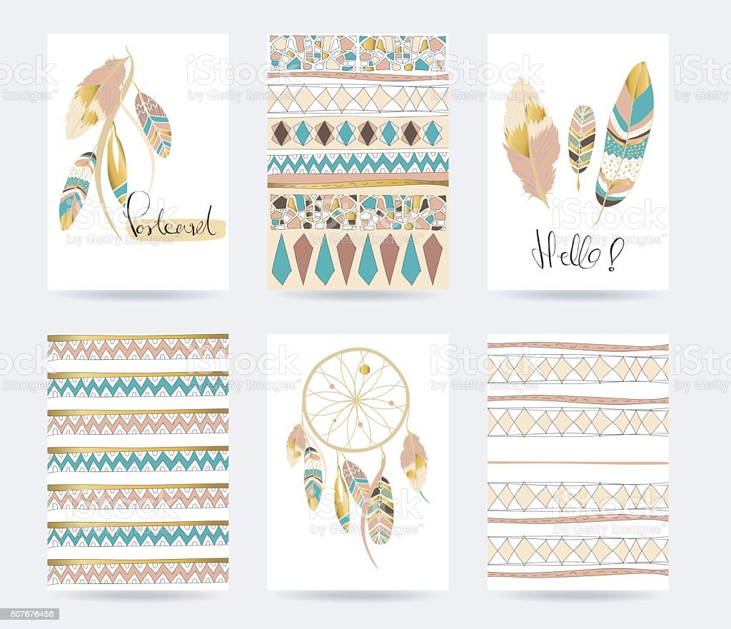 Light green gold pink card template in boho style vector art illustration