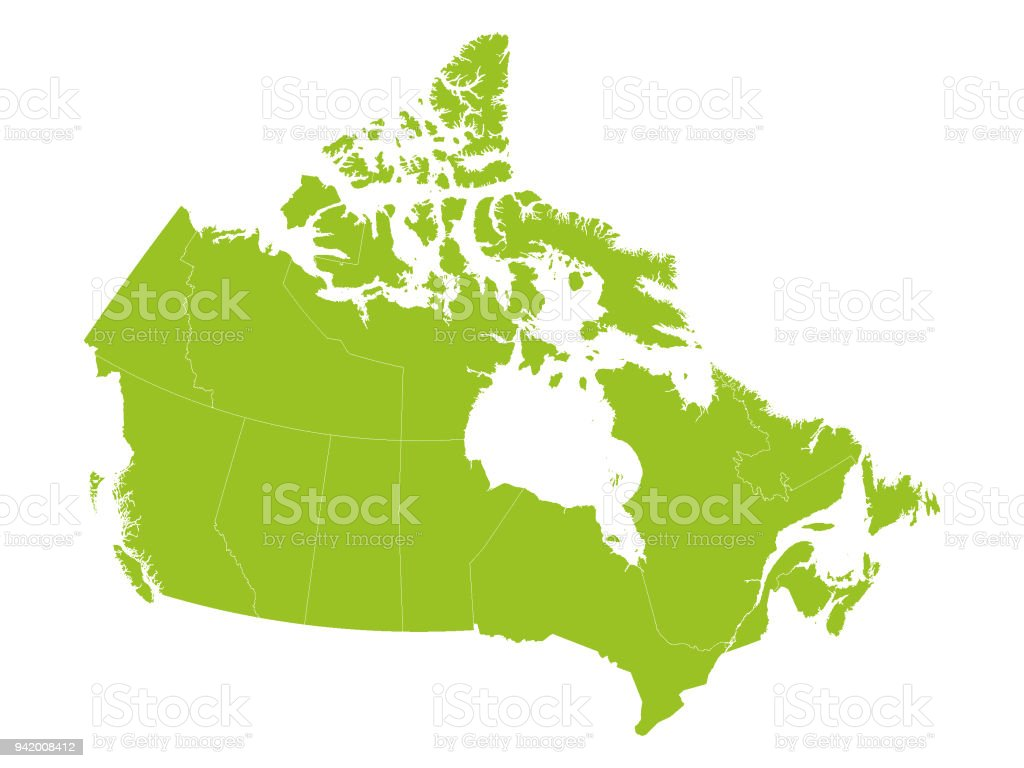 Light Green Map Of Canada With Provinces Stock Vector Art ...