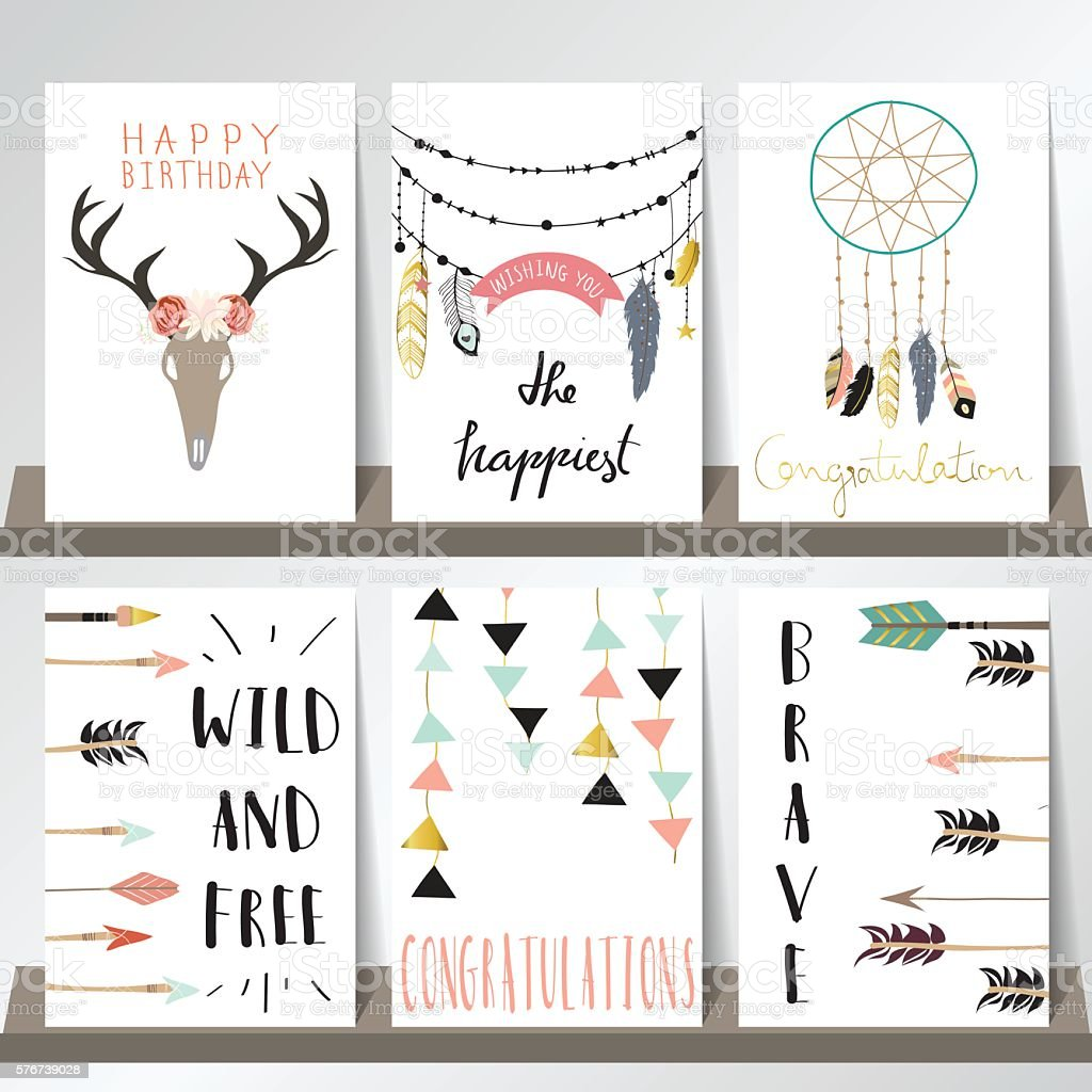 Light green pink gold card template with arrow,feather,geometric vector art illustration