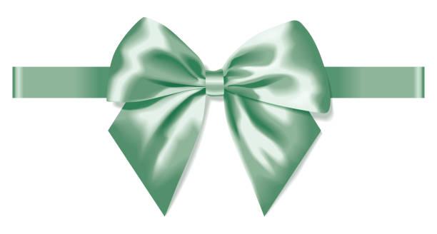 illustrations, cliparts, dessins animés et icônes de révérence légère de soie verte avec décoration de ruban pour cadeau - ellen page