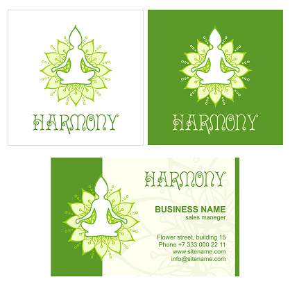 Light green Vector Logo for Yoga or Wellness center. Isolated on a white background