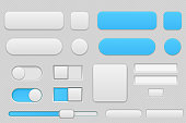 Light grey and blue interface buttons. Vector 3d illustration