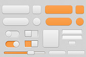 Light grey and orange interface buttons. Vector 3d illustration
