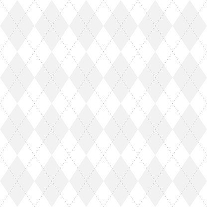 Light grey argyle seamless pattern background.Diamond shapes with dashed lines. Simple flat vector illustration