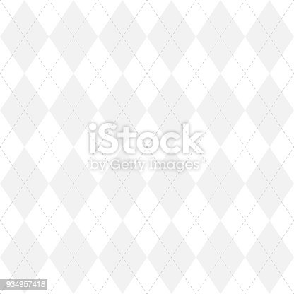 Light grey argyle seamless pattern background.Diamond shapes with dashed lines. Simple flat vector illustration.