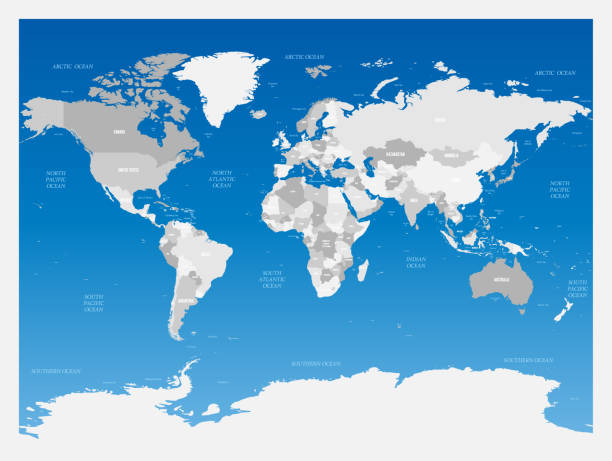 Light grey political World map on blue gradient background. Vector illustration Light grey political World map on blue gradient background. Vector illustration. continent geographic area stock illustrations