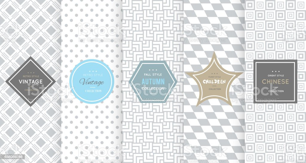 Light grey seamless patterns for universal background vector art illustration