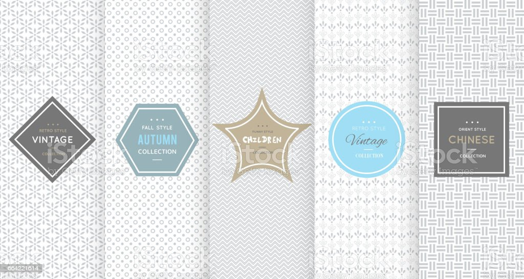 Light grey seamless patterns for universal background royalty-free stock vector art