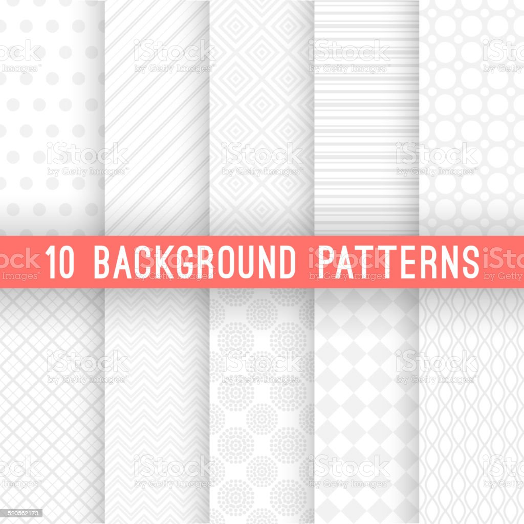Light grey seamless patterns for universal background. Vector illustration vector art illustration