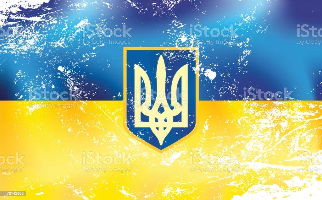 Light grunge effect flag of Ukraine with emblem royalty-free stock vector art