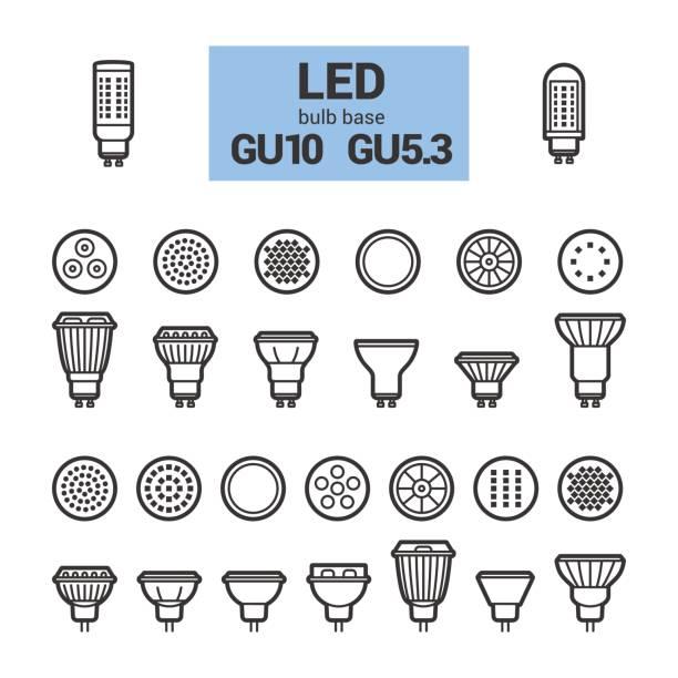 led licht gu10 leuchtmittel vektor umriss-icon-set - led stock-grafiken, -clipart, -cartoons und -symbole
