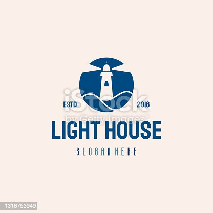 istock Light House  hipster retro vintage vector template 1316753949