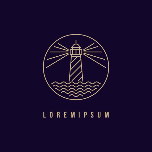 illustrations, cliparts, dessins animés et icônes de création de logo lumière maison - phare