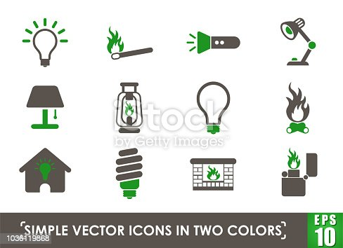 light simple vector icons in two colors
