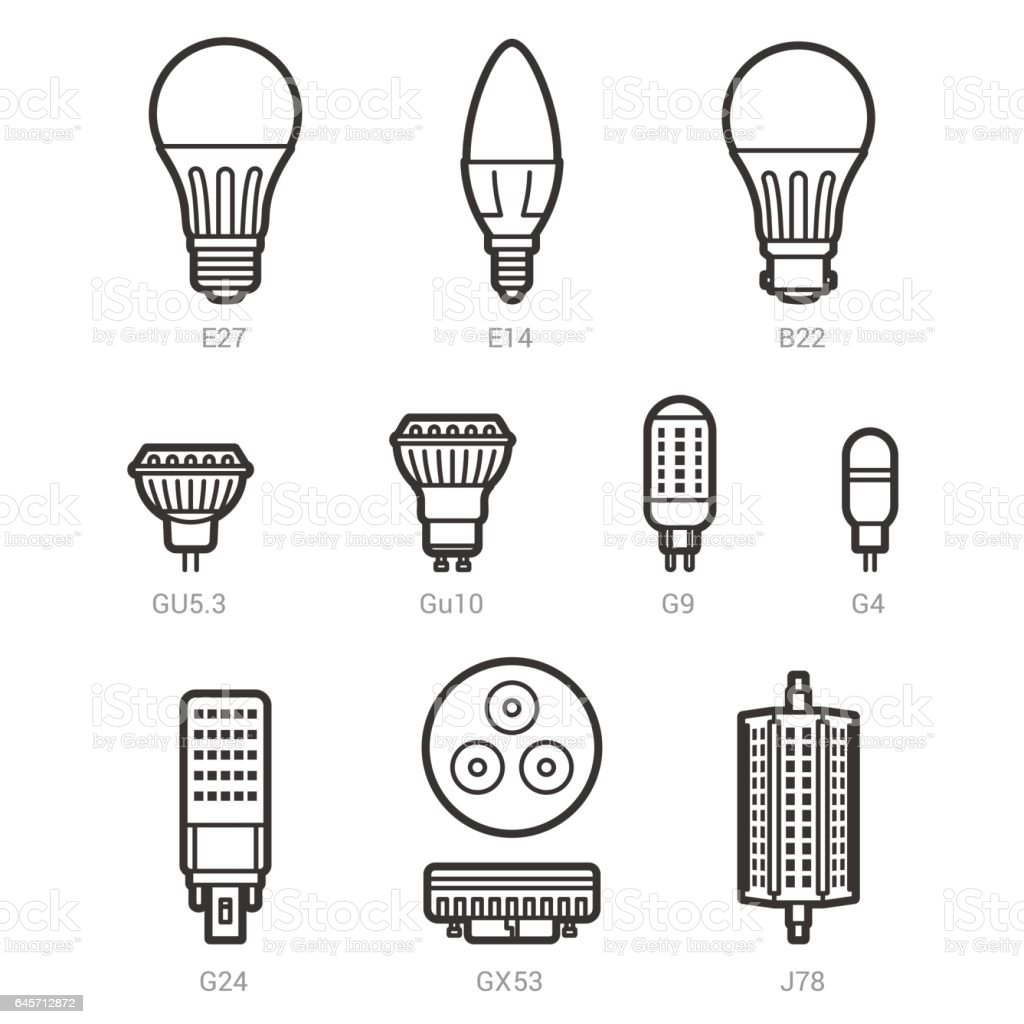 Led Light Lamp Bulbs Vector Outline Icon Set Stock Vector Art & More ...