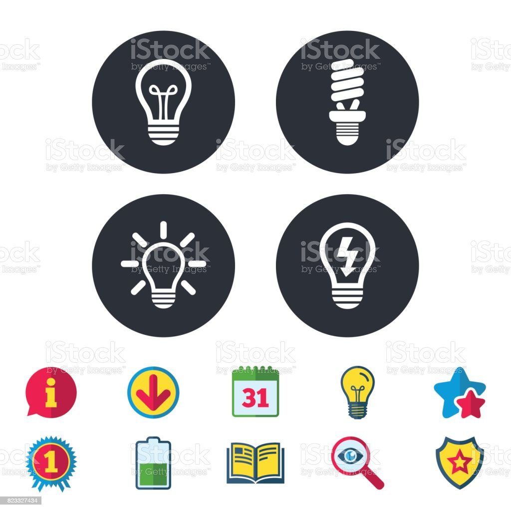 Light Lamp Icons Energy Saving Symbols Stock Vector Art & More ...