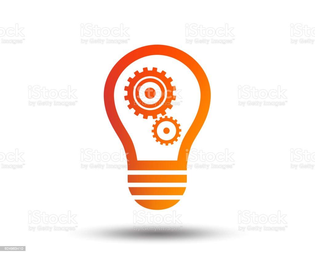Lichtlampesymbol Mit Getriebe Glühbirne Symbol Stock Vektor Art und ...