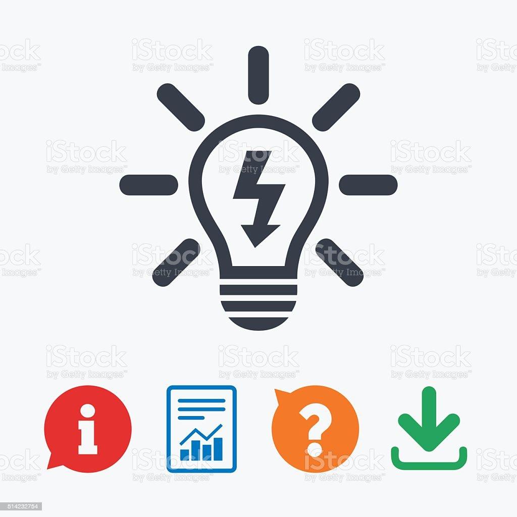 Lichtlampesymbol Glühbirne Symbol Mit Blitz Stock Vektor Art und ...