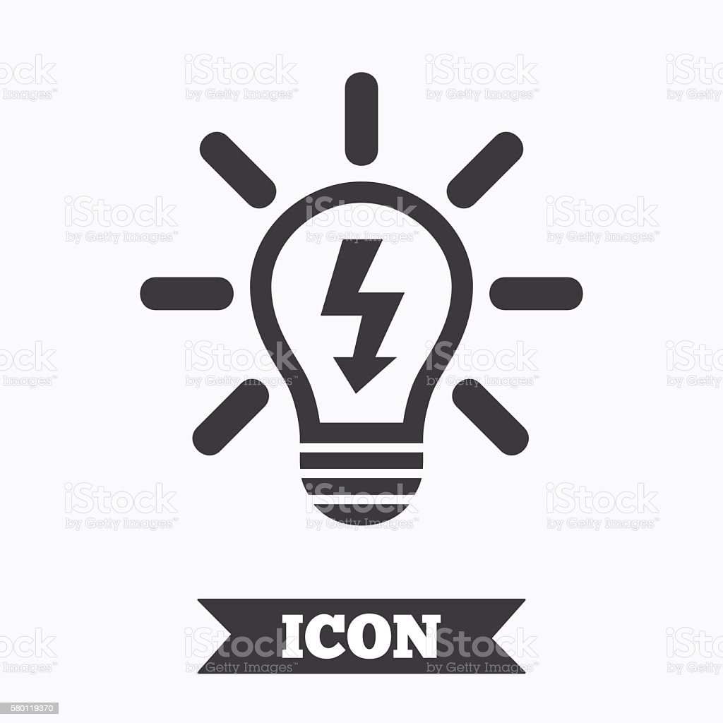Light Lamp Sign Icon Bulb With Lightning Symbol Stock Vector Art ...