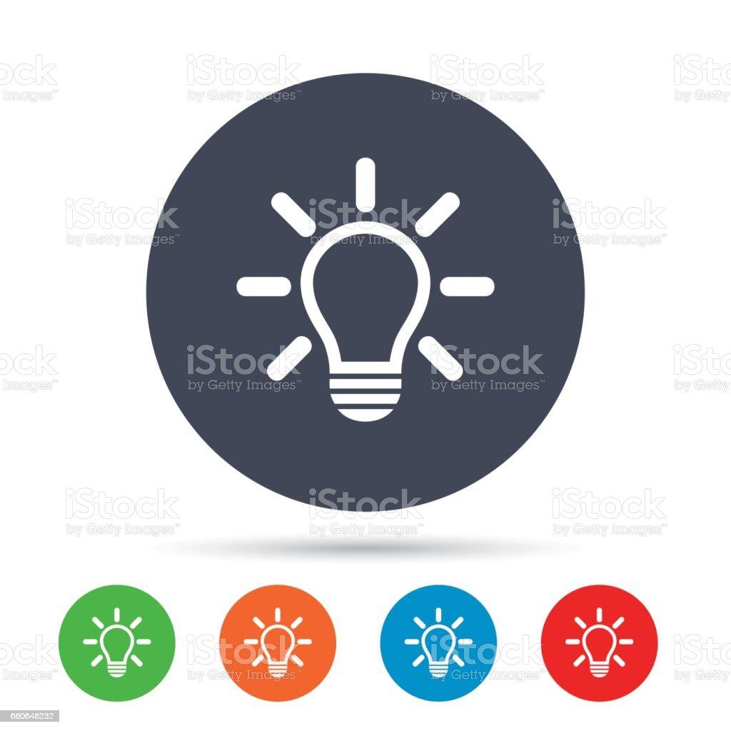 Señal icono Bombilla de luz. Idea símbolo. - ilustración de arte vectorial