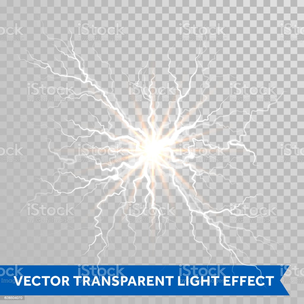 Light Lightning Flash Of Thunder Storm On Transparent Background Royalty Free Stock Vector Art