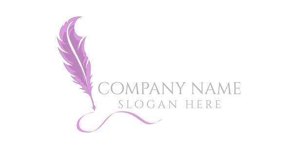 stockillustraties, clipart, cartoons en iconen met licht logo belettering met afbeelding van gradiënt feather - stekels