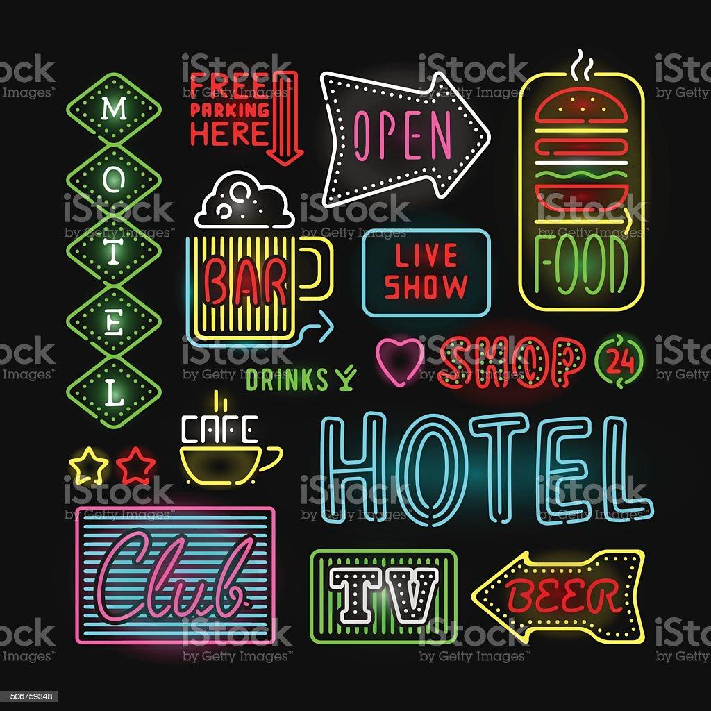 Light neon labels vector illustration vector art illustration