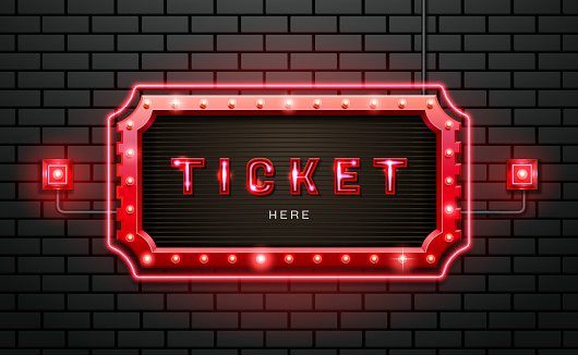 light neon sign ticket on brick wall background