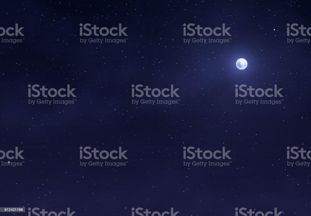 Hellen Nachthimmel mit einem hellen Mond. Raum-Sternen-Hintergrund. Lizenzfreies hellen nachthimmel mit einem hellen mond raumsternenhintergrund stock vektor art und mehr bilder von abstrakt