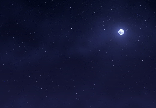 Light night sky with a bright moon. Space stars background. clipart