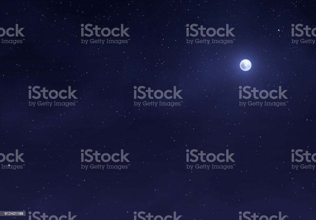 Light night sky with a bright moon. Space stars background. vector art illustration
