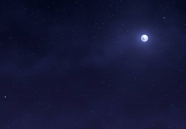 light night sky with a bright moon. space stars background. - ночь stock illustrations