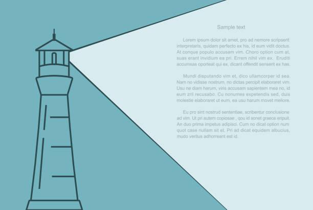 Light of the lighthouse Light of the lighthouse and text frame. Minimal design desktop website. lighthouse stock illustrations