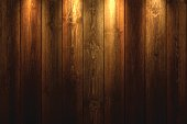 Realistic wooden wall with a spot illumination.