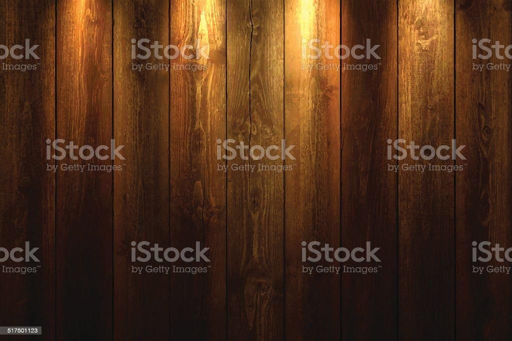 Luz sobre fondo de madera - ilustración de arte vectorial