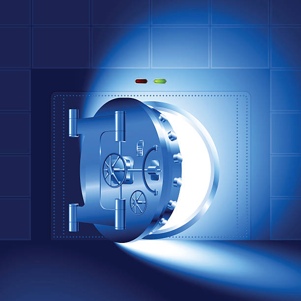 Light open door safe blue Light through a door of the bank safe (bank vault). The blue version (RGB-colors, EPS-8) safes and vaults stock illustrations