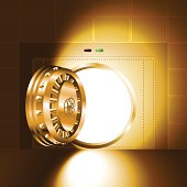 Light through a door of the bank safe (bank vault). The gold version (RGB-colors, EPS-8)