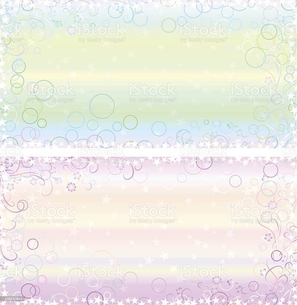 Light Pastel Greeting Card Backgrounds With Fantasy Frames Stock